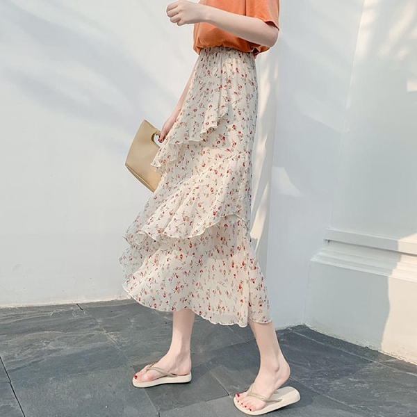 春夏季碎花蛋糕裙不規則韓版高腰顯瘦中長款雪紡半身裙氣質仙女裙 伊蘿