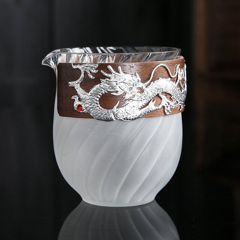 銀鑲大理石釉陶瓷玻璃公道杯泡茶器大號防燙手功夫茶具配件茶海特