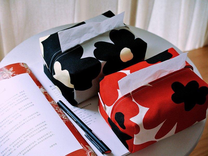 北歐大花花布藝立體紙巾盒