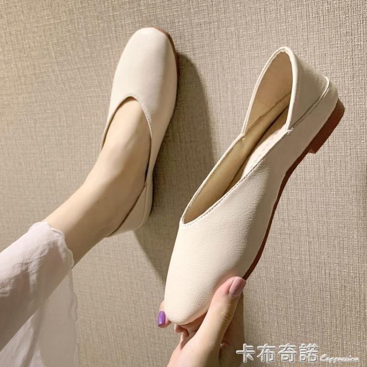 春森女平底方頭單鞋兩穿淺口孕婦奶奶鞋復古半拖仙女懶人鞋子