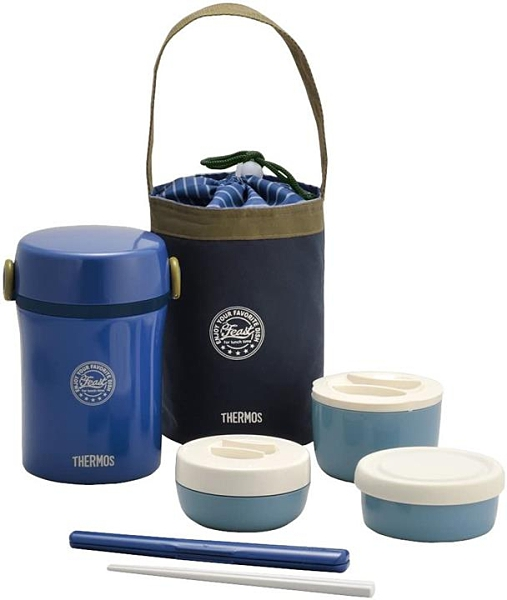 【日本代購】Thermos 膳魔師 不銹鋼 午餐保溫盒 約0.6合(約108ml) 海軍藍 JBC-801 NVY
