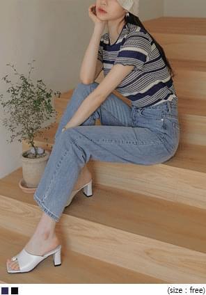 韓國空運 - 波浪邊混色短袖針織上衣 針織衫