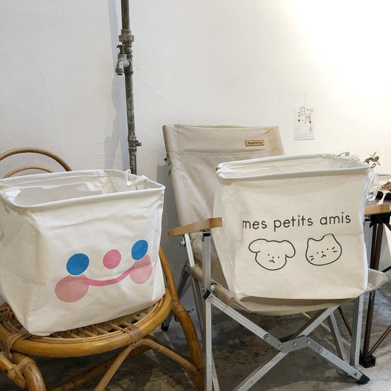 折疊髏衣籃 ins韓風卡通可愛臟衣籃衣服收納筐臟衣簍可折疊棉麻大容量家用『XY17628』