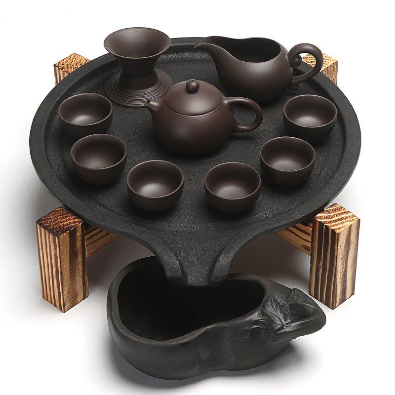 整套陶瓷茶杯功夫茶具套裝家用實木干泡黑陶茶盤儲水茶臺茶海茶道