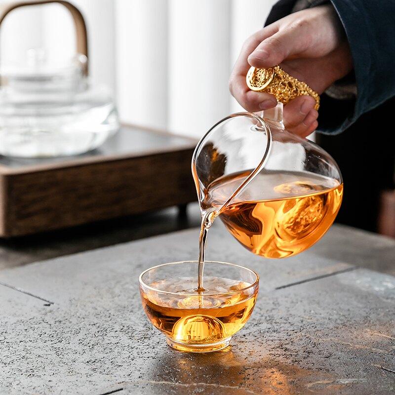 金箔玻璃茶杯功夫茶具主人杯茶盞創意透明藏金杯個人杯品茗杯單個