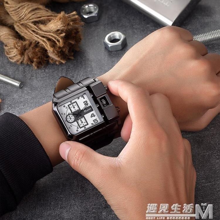 歐鐳手錶男 西部狂野機車手錶男超大霸氣方形個性哈雷手錶