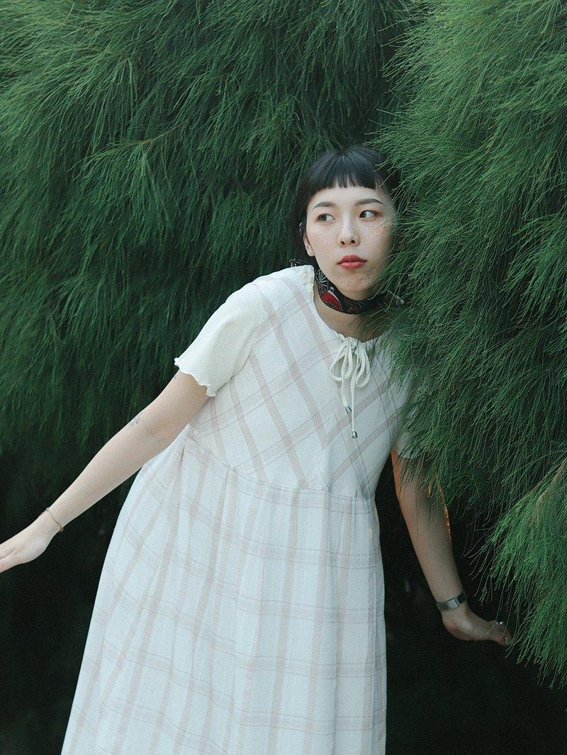古著背心洋裝011 格紋 淡粉紅色 , 洋裝 連身裙【Tsubasa.Y古著屋