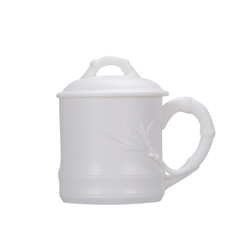 德化羊脂玉水杯辦公杯帶蓋過濾大泡茶杯瓷器陶瓷禮品個人杯