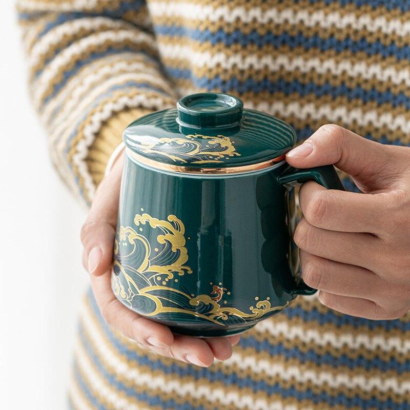 輕奢保溫茶杯大容量馬克杯帶蓋過濾辦公室泡陶瓷水杯男士個人家用