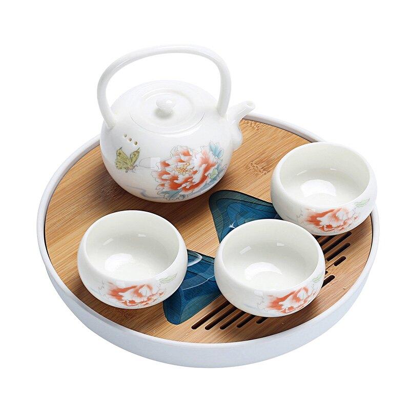 白瓷快客杯杯一壺三杯干泡盤茶具套裝家用簡約陶瓷提梁壺杯