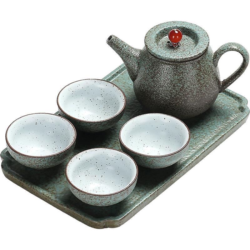 日式小干泡盤粗陶功夫茶具套裝家用簡約旅行快客杯陶瓷茶壺茶杯子