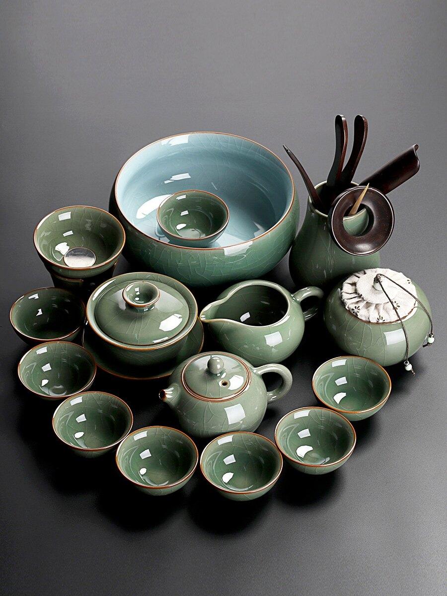 輕奢哥窯開片功夫茶具套裝家用客廳杯蓋碗壺會客茶陶瓷小套泡喝藝