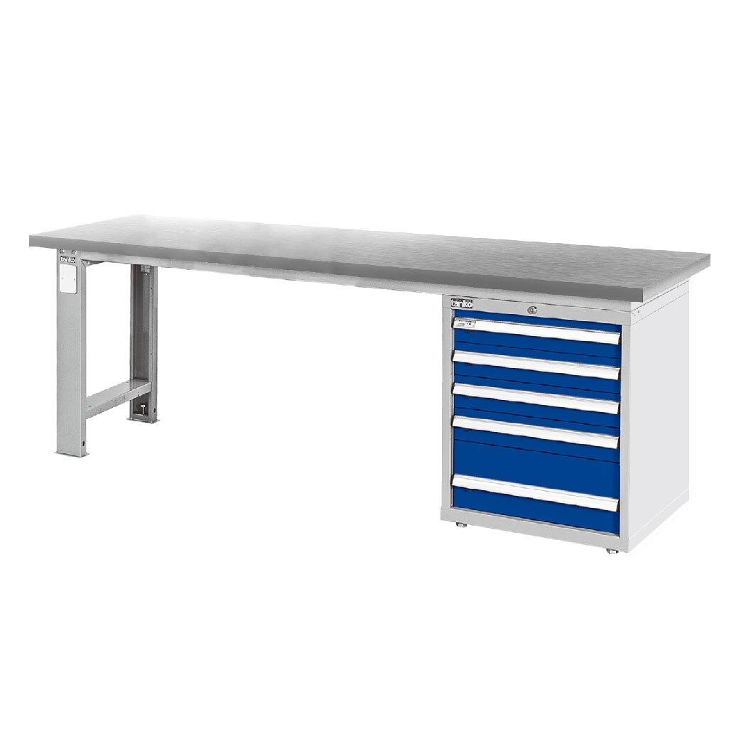 天鋼 不銹鋼桌板單櫃型工作桌 WAS-77051S 寬2100mm 可加購掛板組與掛鉤 工作臺 辦公桌 耐重桌 工廠桌 實驗桌