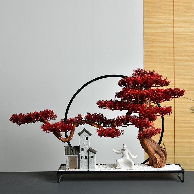 仿真迎客松擺件新中式微景觀禪意擺設客廳家居玄關創意現代