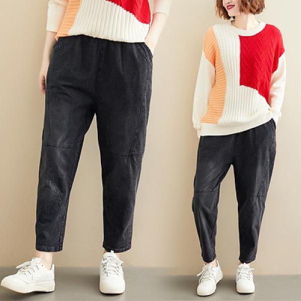 松緊牛仔褲新款大碼水洗寬松顯瘦老爹褲百搭針織牛仔褲R31-B.依品國際
