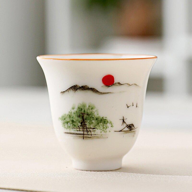 羊脂玉白瓷主人茶杯手繪茶碗小杯子陶瓷茶盞品茗杯家用單個