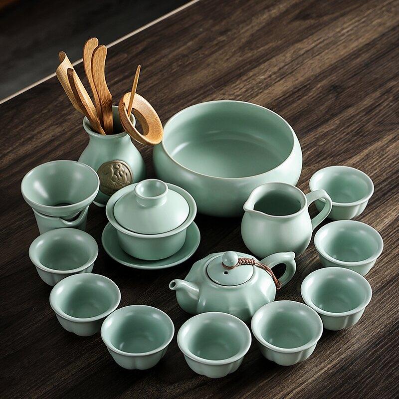輕奢開片汝窯功夫茶具套裝家用蓋碗會客壺杯茶器茶客廳泡配件小套