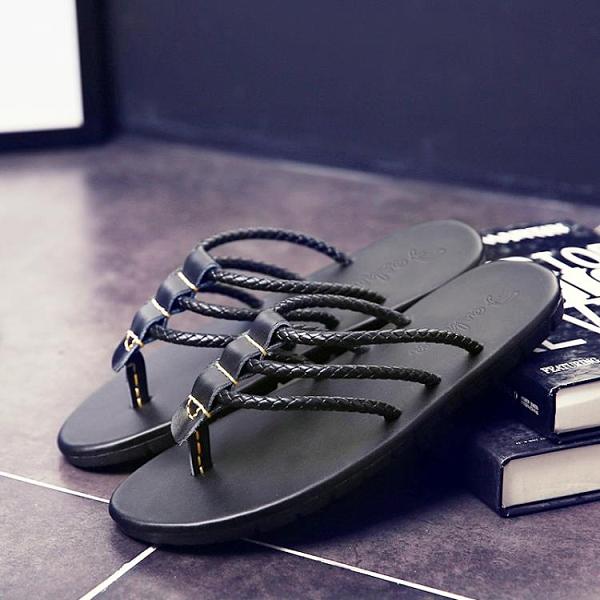 涼鞋 人字拖男夏外穿潮流羅馬沙灘個性夾腳越南拖鞋平底一字拖防滑涼鞋 晶彩