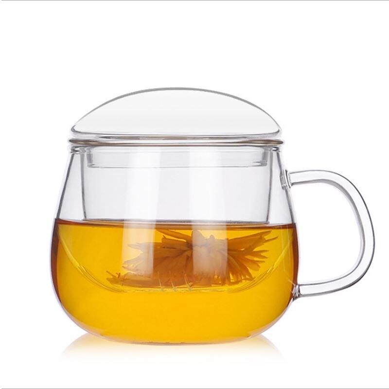 批發加厚耐高溫玻璃茶水分離泡茶杯家用透明帶過濾花茶杯辦
