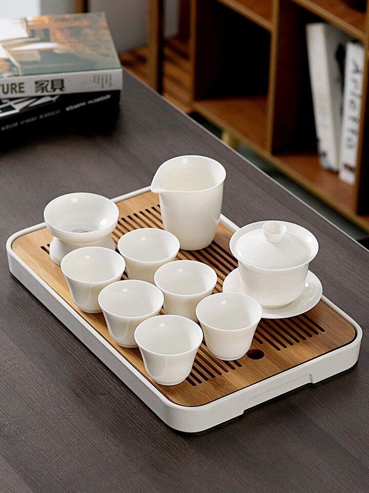 功夫茶具套裝手繪描金三才碗家用儲水盤辦公室泡茶器簡約干泡茶臺