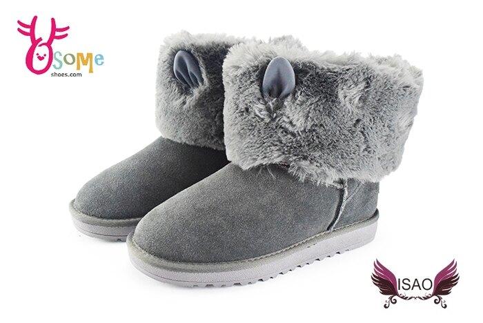 ISAO韓版女款雪靴 真皮毛絨兔耳朵造型保暖雪靴M8064#灰色 奧森