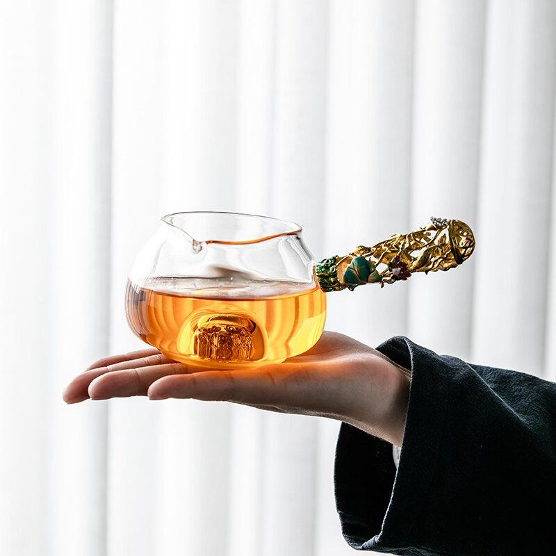 輕奢藏金公道杯加厚耐熱玻璃茶海日式透明茶漏套裝創意公杯倒茶器