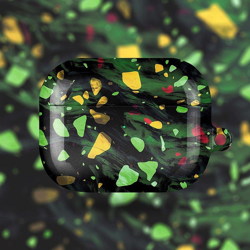 AirPods 1/2/Pro硬殼耳機保護套 孔雀石綠水磨石
