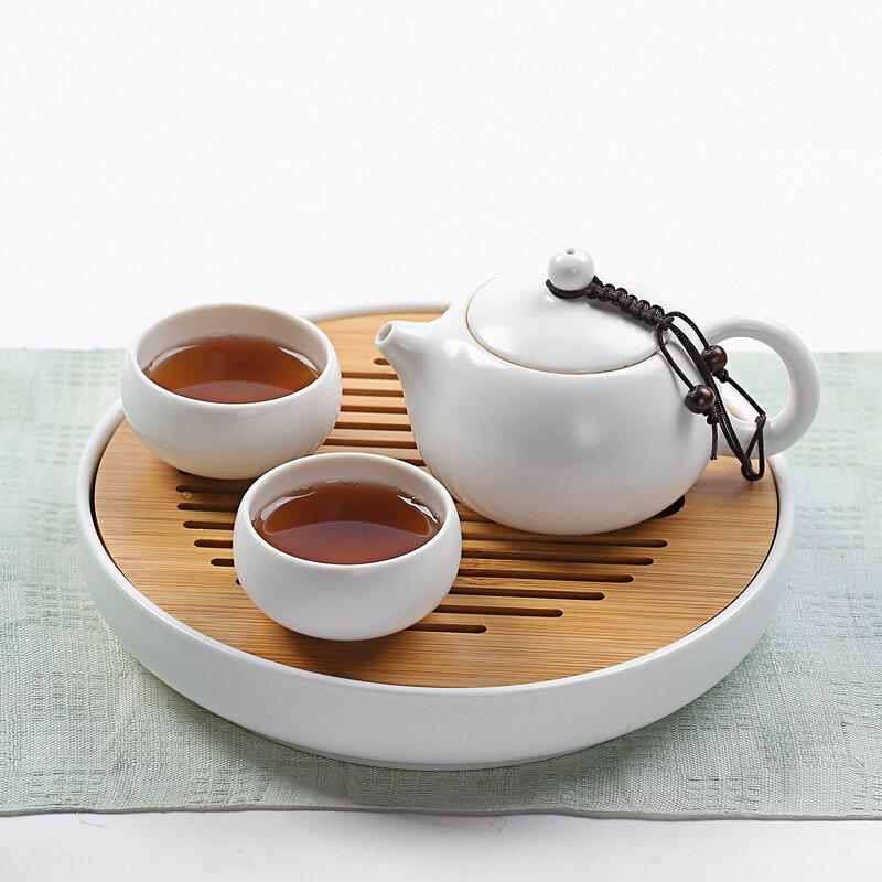 輕奢簡約一壺兩杯快客杯白瓷茶具功夫茶具套裝茶盤茶臺泡干盤小套
