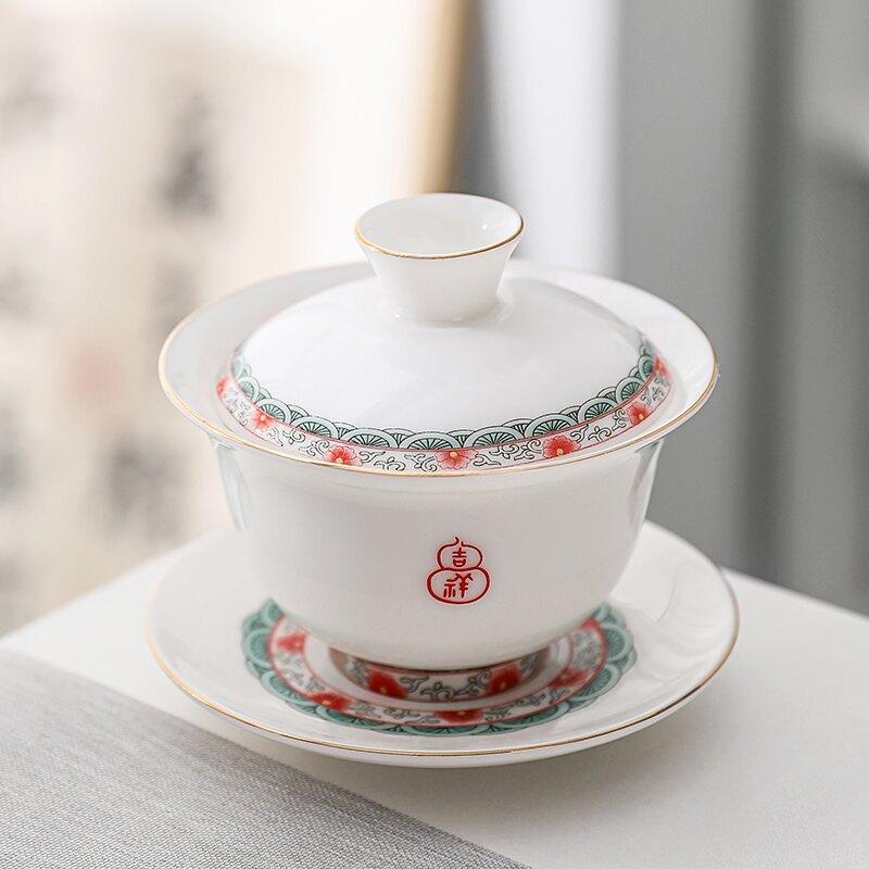 輕奢羊脂玉吉祥蓋碗防燙手工三才碗泡茶家用單個茶壺功夫瓷大杯器