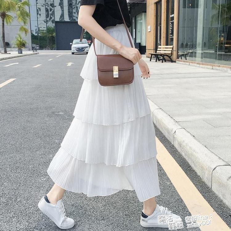 蛋糕裙 四層雪紡蛋糕裙女2021春夏新款韓版高腰長裙子百搭顯瘦百褶半身裙