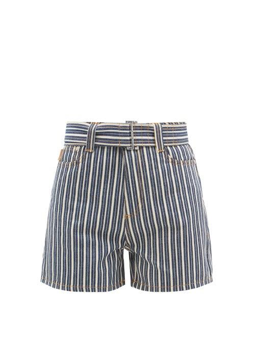 Ganni - Belted Striped Denim Shorts - Womens - Denim Multi
