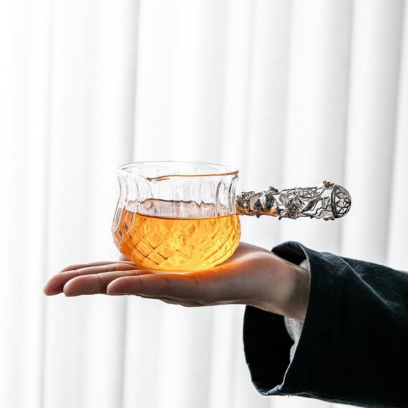 輕奢側把公道杯日式玻璃茶具單個泡茶公杯創意茶海茶漏杯倒茶杯子