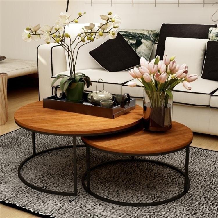 美式復古鐵藝實木茶幾桌幾何時尚創意大小戶型圓形茶幾茶桌