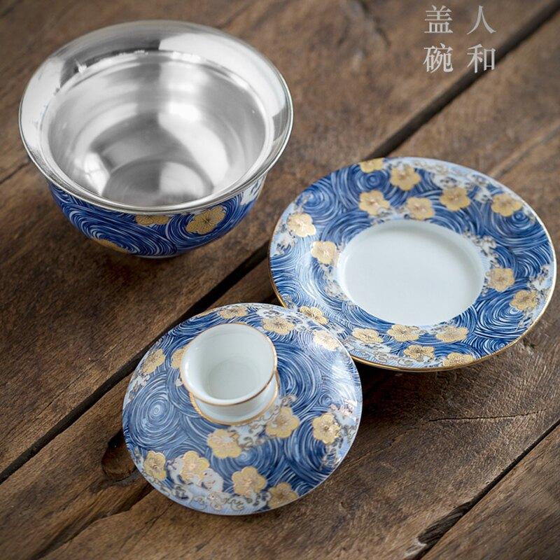 輕奢青花瓷銀蓋碗三才碗家用茶杯單個茶具陶瓷茶碗套裝碗送禮泡小