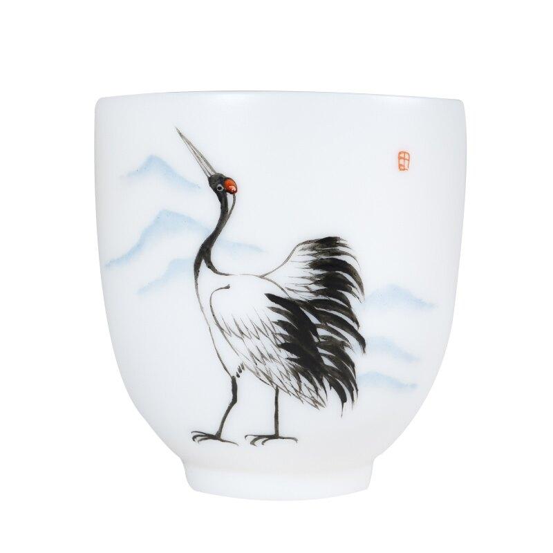 白玉瓷手繪茶杯主人杯陶瓷羊脂玉品茗杯茶碗單個喝茶茶杯子
