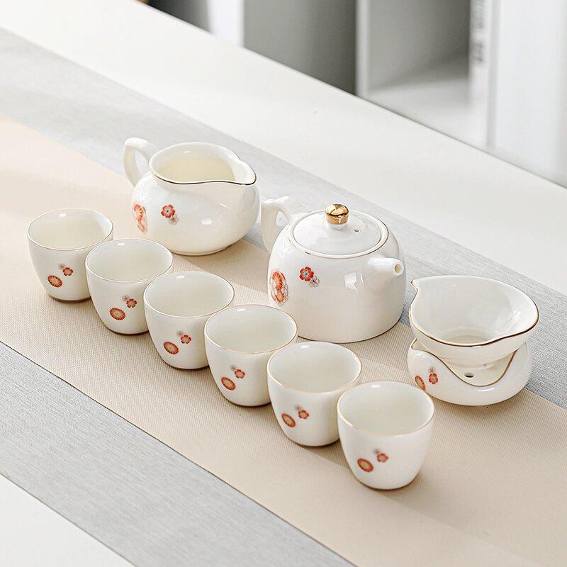輕奢白瓷茶具玉瓷茶杯套裝客廳家用陶瓷功夫沖茶茶器禮盒茶壺喝小