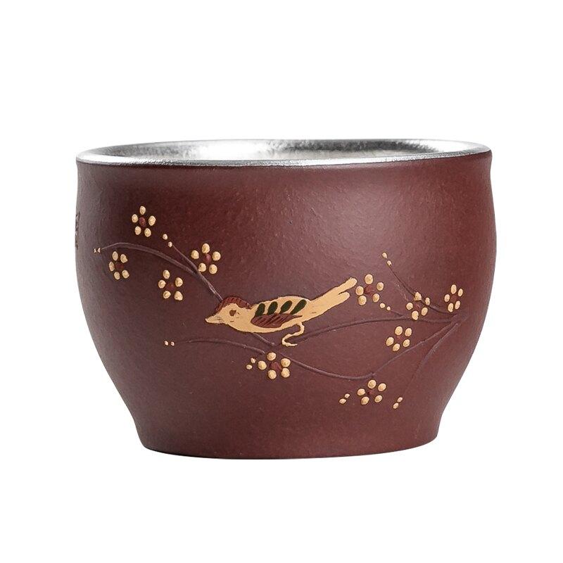 鎏銀茶杯家用陶瓷品茗杯小茶杯主人杯單杯功夫茶具茶盞茶碗