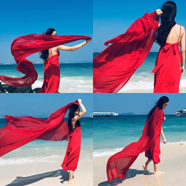 沙灘巾 絲巾女韓版超大圍巾百搭青海湖紗巾大紅長款海邊沙灘巾夏防曬披肩 夢藝家