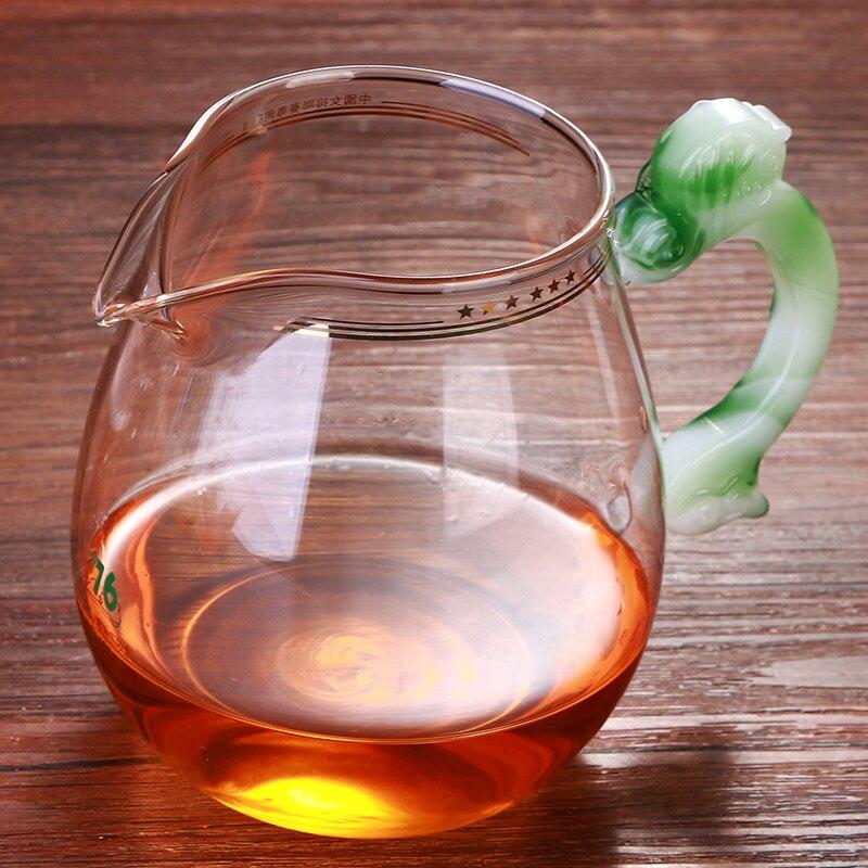 臺灣變色琉璃手把公杯公道杯帶茶漏套裝透明玻璃分茶器加厚