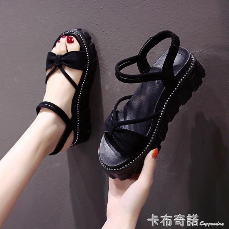 新款夏季涼鞋女仙女風溫柔時尚百搭網紅女士厚底蝴蝶結羅馬鞋
