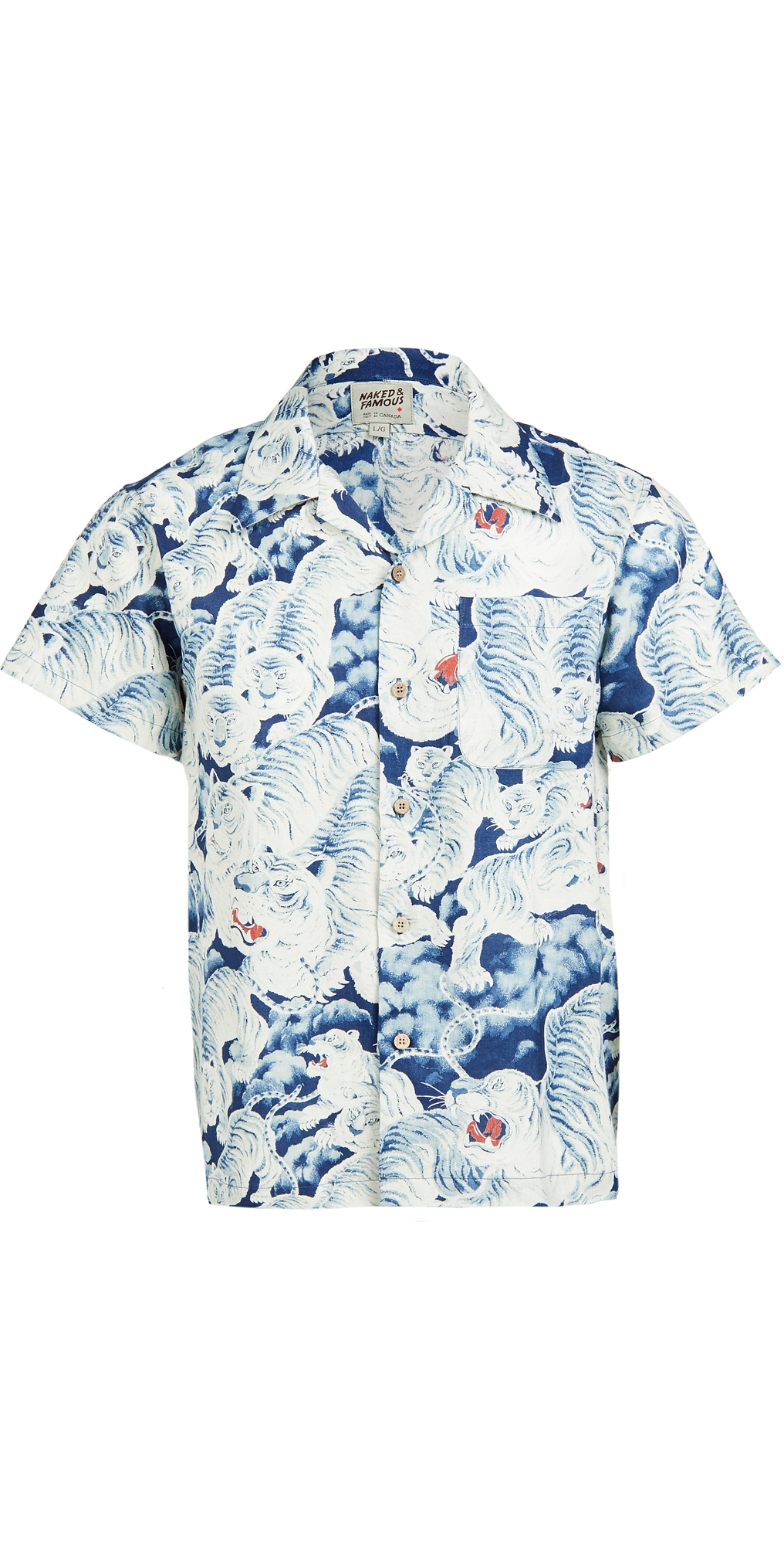 Naked & Famous Indigo Tigers Aloha Shirt