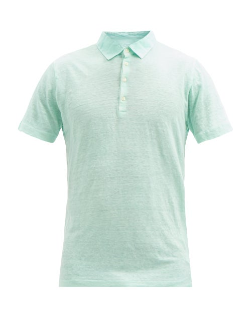 120% Lino - Linen Polo Shirt - Mens - Green