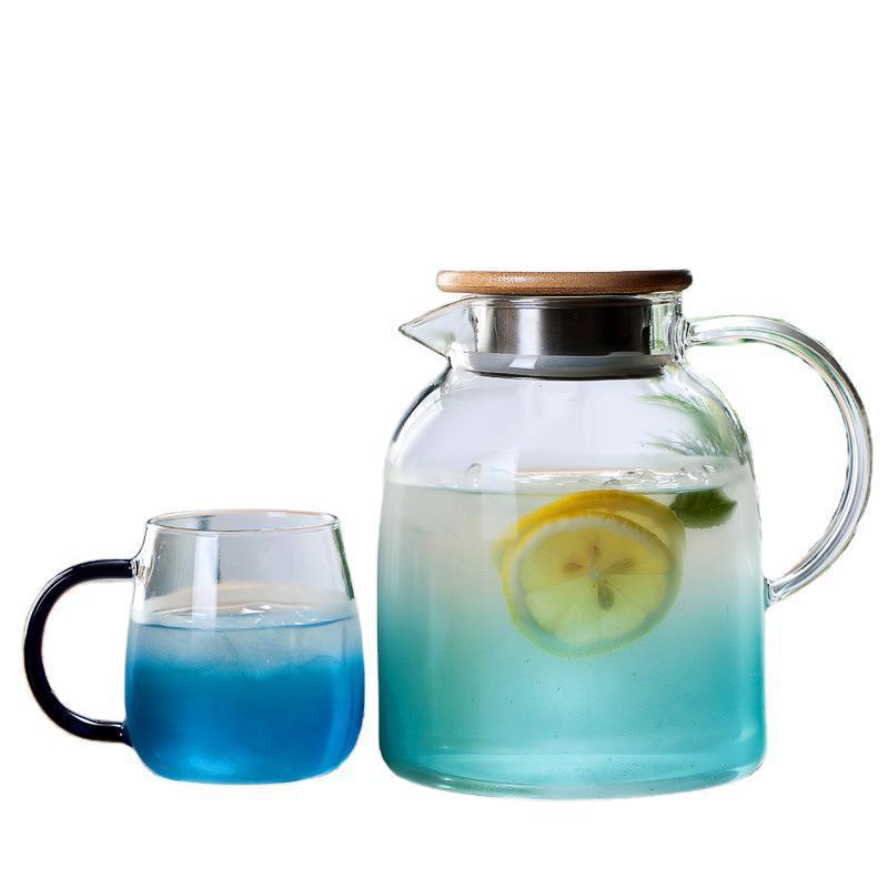 漸變玻璃水壺家用耐熱防爆果汁壺北歐小清新大容量冷水壺水