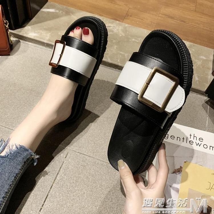 拖鞋女外穿夏新款時尚百搭鬆糕網紅厚底增高ins涼拖潮鞋