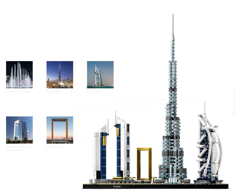 【LETGO】現貨 樂高正版 LEGO 21052 經典建築系列 阿拉伯 杜拜 天際線 卓美亞酒店 框架 噴泉 兒童節