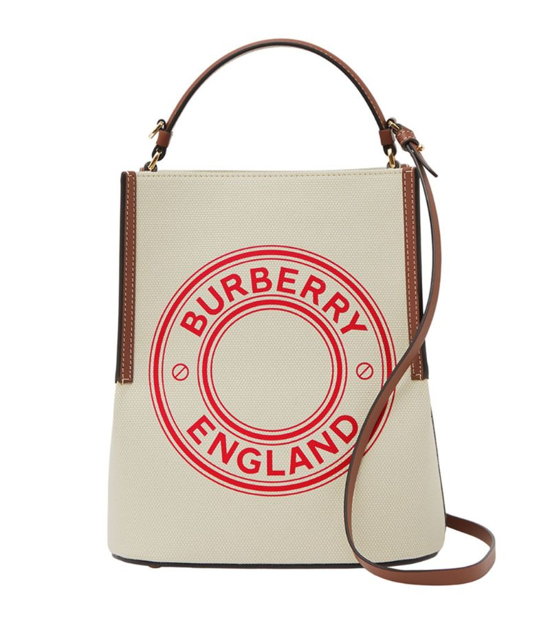 Burberry Canvas Logo Peggy Bucket Bag