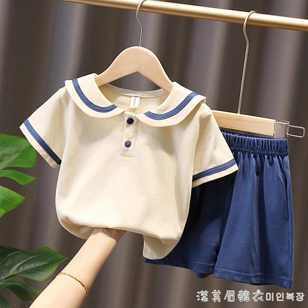 女童夏季套裝2021年新款夏裝童裝兒童短袖女孩衣服女寶寶運動休閑 美眉新品