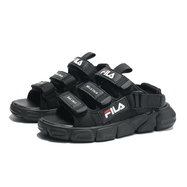 FILA 童鞋 涼鞋 黑白 串字 魔鬼氈 運動 中童 (布魯克林) 3S418V001