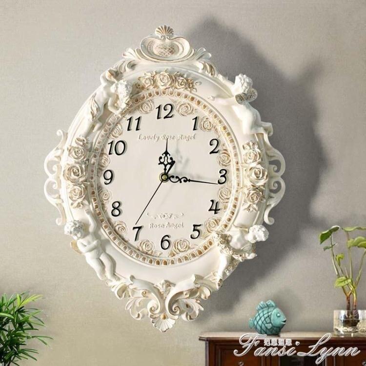 歐式客廳創意時尚藝術裝飾掛鐘靜音臥室時鐘大掛鐘錶天使石英鐘錶
