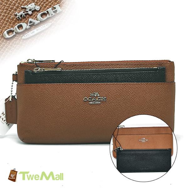 COACH防刮皮革咖啡長夾/手拿包(附可拆式拉鍊袋)